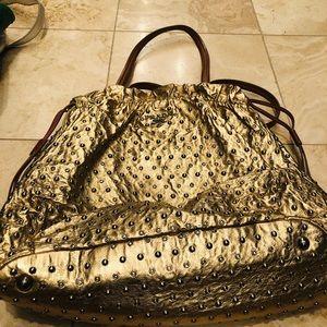 Prada gold with studs med size  shoulder bag